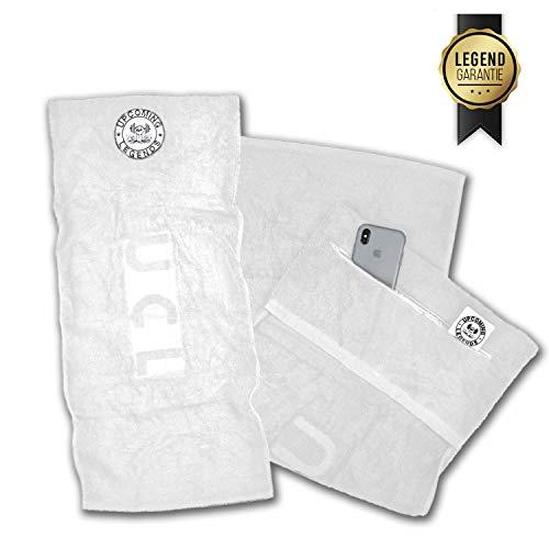 Upcoming Legends UCL Sporthandtuch mit Reißverschluss-Taschen (90cm x 40cm) Gym Handtuch | Fitness-Handtuch fürs Fitnessstudio für Damen und Herren (Weiß)