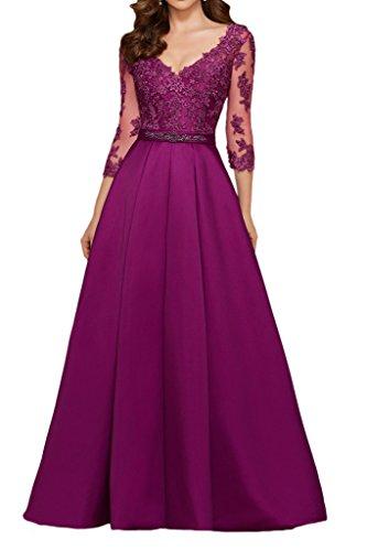 Promgirl House Damen Prinzessin Elfenbein Spitze V-Ausschnitt Abendkleider Ballkleider Lang mit Aermel-38 Fuchsie
