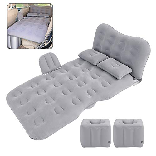 Car Air Mattress for Back Seat & Half Trunk, Thickened Inflatable Camping Bed with Two Air Pillow and Electric Car Air Pump, Double-Side Design with Flocking & PVC for Multi-Scene Use and Road Trip