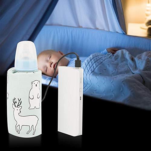 USB Babyflaschenwärmer Tragbare Cartoon Milchflasche Reise Heizungs Abdeckung Isolierungs Thermostat für Zuhause(Polar Bear-Pattern)