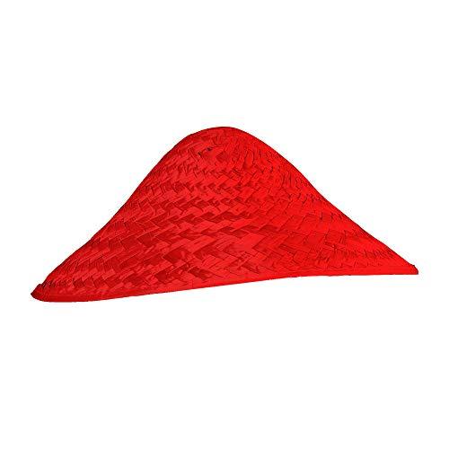 Widmann 29564 29564-Vietkong Strohhut, Mütze, Accessoires, Chinese, Hut, Kopfbedeckung, Fasching, Karneval, Mottparty, Unisex, Rot, Einheitsgröße Erwachsene