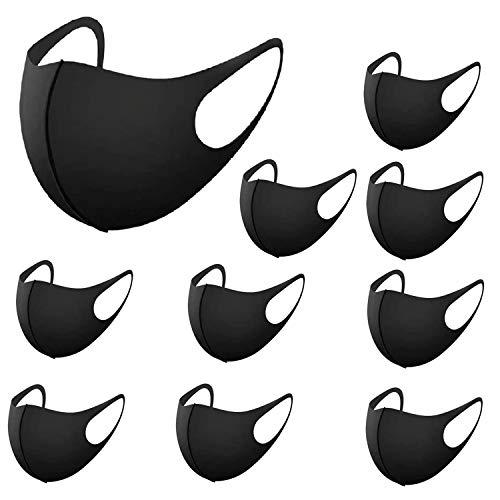 RUG 12 Stück Masken, Schwarz Baumwolle Masken Staubmaske Unisex Wiederverwendbar Mundschutz Maske