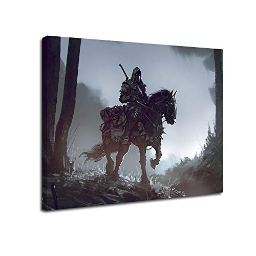 Medieval Masked Warrior katana Sword Canvas Wall Art-Inner Framed Oil Paintings Printed on Canvas Modern Artwork for Home Decorations and Easy to Hang for Living Room Bedroom-Monochrome,Armor Warrior on Horseback in the Forest,Wall Art gift