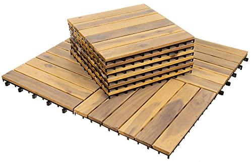 MT MALATEC Terrassenfliesen 10er Set Klickfliesen 30x30cm Holzfliesen Balkon 11967