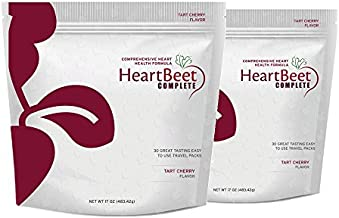 2 Bags of HeartBeet Complete - Beetroot Powder Formula for Blood Pressure, Cholesterol, and Circulation Support with L-arginine, L-citrulline, CoQ10 and Turmeric. 30 Stick Packs in Each Bag.