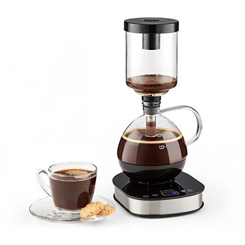 KLARSTEIN Drop Siphon Coffee Maker Cafetera de vacío - Pantalla LCD, Base 360°, Vaso térmico, Café gourmet, claro y con cuerpo, Modo manual y automático