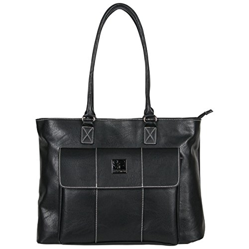 comfortable carrying: tote style handles can be carried or worn over the shoulder and have a drop length of 12 inches. protect your TECH: a padded laptop pocket holds most laptops and tablets with up to a 16-inch screen. Pebbled leather-like pu Exter...