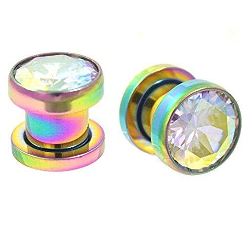 Joyería del cuerpo de titanio Gekko del bastidor plateado de ajuste enchufe con multi-colored Gem - 14 mm