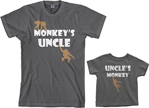 Threadrock Monkey's Uncle Toddler & Men's T-Shirt Matching Set (Toddler: 2T, Charcoal|Men's: L, Charcoal)