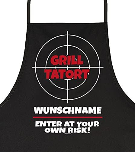 Goodman Design Personalisierte Grill-Schürze individuell selbst gestalten Grill Tatort Wunschname Baumwoll-Schürze für Männer Kochschürze Grillen
