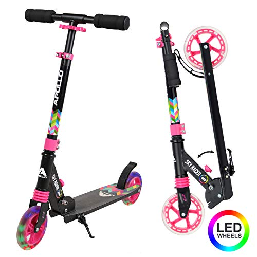 Apollo Scooter LED - Skyracer con Ruedas LED 145 mm City Scooter con suspensión, City Roller Plegable y Ajustable en Altura, Kick Scooter para niños y Adolescentes