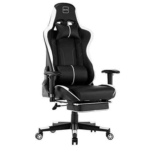 SKYE ゲーミングチェア デスクチェア 椅子 オフィスチェア パソコンチェア ゲーム用チェア リクライニングチェア げーみんくチェア eスポーツ用椅子 一年無償部品交換保証 (ホワイト)