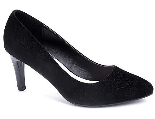 Greatonu Damen Klassische High Heels Moderne Spitzer Stiletto Pumps Party Basic Damenschuhe Schwarz Größe 41EU