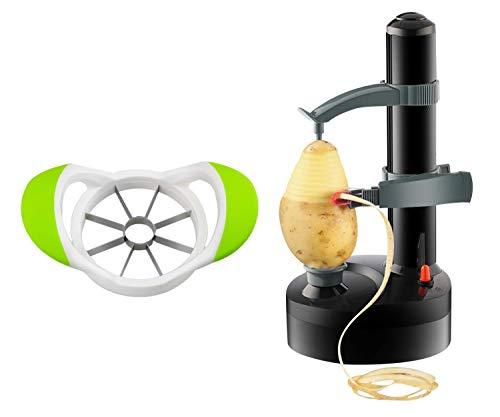 ARSUK Multifunction Electric Fruit Peeler Automatic Rotating Apple Potato Peeling Machine Vegetable Cutter Machine Stainless Steel Kitchen Tool (Black)