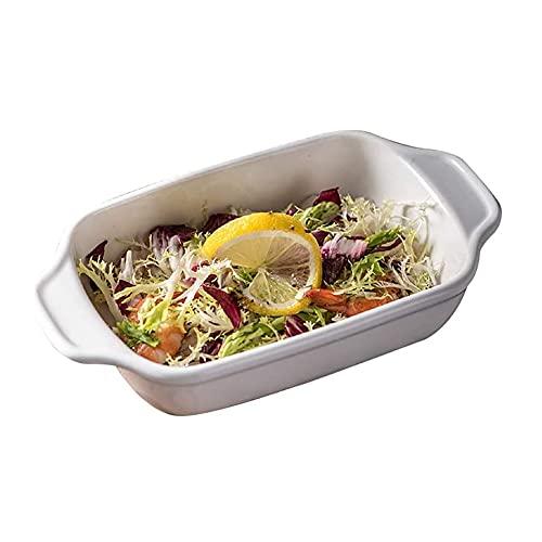 JJINPIXIU Juego de utensilios para hornear, cuenco de arroz al horno con queso, plato de pasta, vajilla de cerámica, 2 piezas, plato rectangular de cerámica blanca al horno, que se adapta a sus necesi