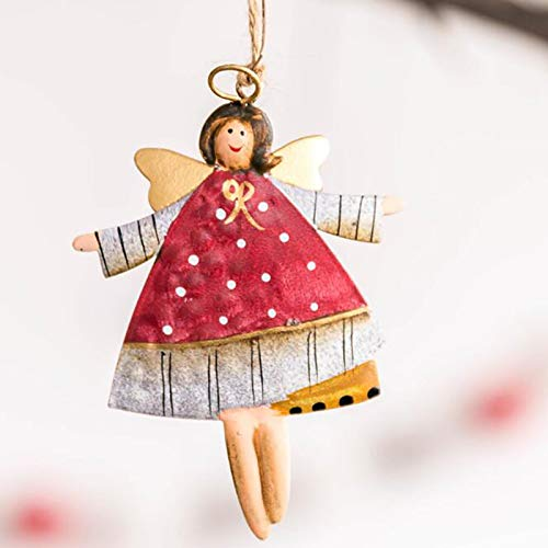 AXUHENGO Christmas Pendant Christmas Tree Metal Ornaments Diy Christmas Day Pendant Christmas Party Decorations red-angel