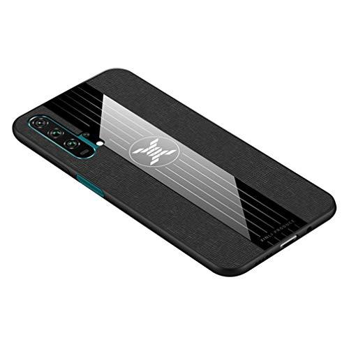 HAOYE Hülle für Huawei nova 5T Hülle, [ TPU Rahmen ] Handyhülle Schutzhülle, Stoff - Backcover Hülle Cover Canvas Design. Schwarz