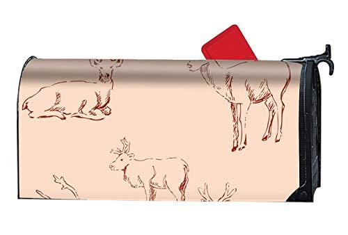 prz0vprz0v Hertenschets Potlood Tekening Ontwerp Magnetische Postbus Cover - Lente Zomer Thema, Decoratieve Postbus Wrap voor Standaard 21 x 18 Inch Waterdichte Canvas Postbus Cover