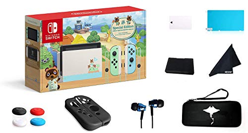 Newest Nintendo Switch - Animal Crossing: New Horizons Edition 32GB Console - Pastel Green and Blue Joy-Con -6.2 Touchscreen LCD Display-GM 69 Value13-in-1 Supper Kit Case