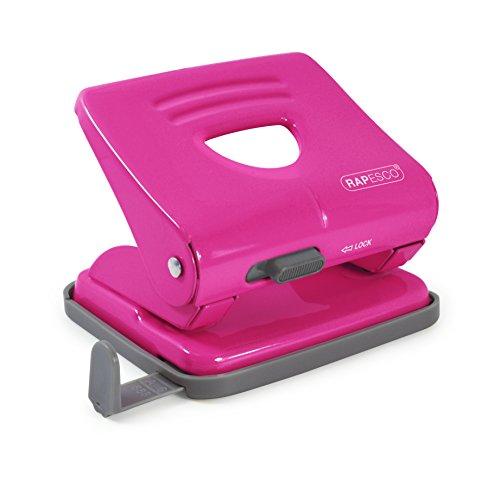 Rapesco 825 - Perforadora metálica de 2 agujeros, 25 hojas capacidad, color rosa intenso