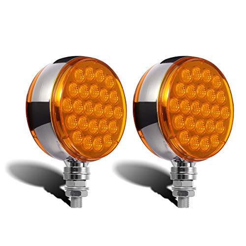 Partsam 2pcs Round Double Face Amber 48LED Pedestal Fender Rear Turn Signal Parking Lights Post Mount, Dual-face Led Marker Trailer Lights Replacement for Kenworth/Peterbilt/Freightliner/Volvo Trucks