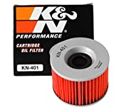 K&N Motorcycle Oil Filter: High Performance, Premium, Designed to be used with Synthetic or Conventional Oils: Fits Select Kawasaki Vehicles, KN-401 , black