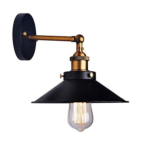 LemonBest® Jahrgang industrielle Regenschirm Vintage Loft-Wand-Licht-Lampen-Befestigungen Retro Wandlampe Edison-Lampe E27 Durchmesser 21cm Black Metal (nicht enthalten Bulb)