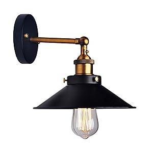Lámpara de pared LemonBest®, estilo retro industrial, forma de paraguas, para bombilla Edison E27,diámetro 21cm, metal negro (no incluye bombilla)