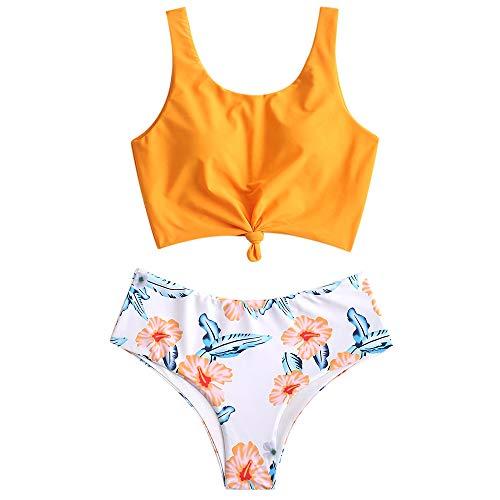 ZAFUL Damen Verknotet Gepolstert Sommer Tankini Bikini Set Multi-C M