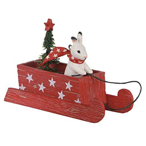 Hallmark Keepsake Christmas Ornament 2020, Marjolein's Garden Sledding Snow Bunny