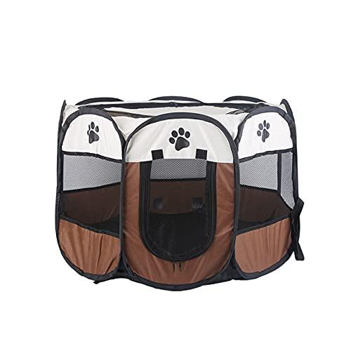 YYIJ Parque de juegos para gatos y perros portátil para mascotas Jaula plegable octogonal para cachorros, carpa de viaje marrón para gatos, perros, animales pequeños (74 x 74 x 43 cm)