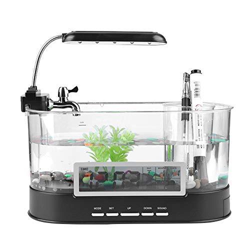Fish Tank, Acuario Recargable Multifuncional con Mini USB para Acuario con función de Reloj Luz LED para Sala de Estar, Dormitorio, Oficina(Negro)
