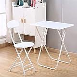 WYJW Terrastafel en 1 stoel - Eetkamermeubelset - Opvouwbare metalen Bistro-Sets voor thuis, op kantoor, keuken, balkon, tuin