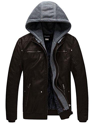 Wantdo Giacca Pelle Morbido Parka in Ecopelle a Vento Leather Jacket Hooded Cappotto Tempo Libero Moto Uomo caffè Scuro S
