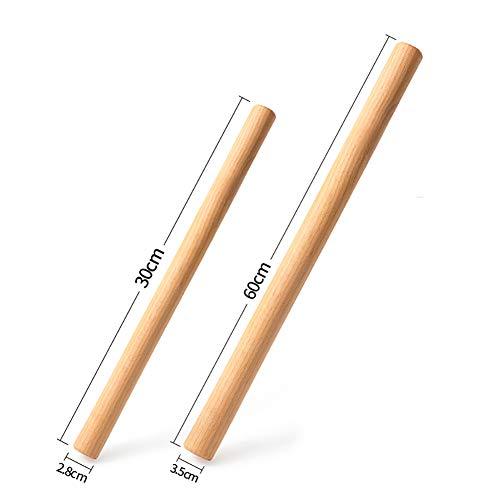 Nudelholz,Teigroller aus Holz/für Kekse,Kuchen,Nudelteig und Mürbeteig-Perfekt Backzubehör(2 Stück Set) (30+60cm,Buchenholz)