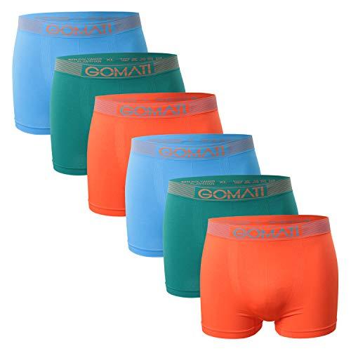 Gomati Herren Seamless Pants (6er Pack), Nahtlose Boxershorts aus Microfaser-Elasthan - Petrol Orange Azure L