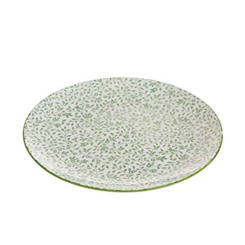 Verre Cadeaux Assiette Ronde Llano Céramique Fleurs Vert 21 cm