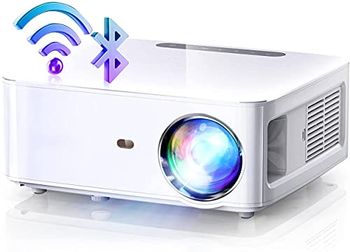 Proyector WiFi+Bluetooth Full HD 1080P Nativo con 8000 Lumenes, 2.4G+5G WiFi, MTK358 Chip, 4P Correción, 60% Zoomout, Soporta 4K, Cinema 500 MAX