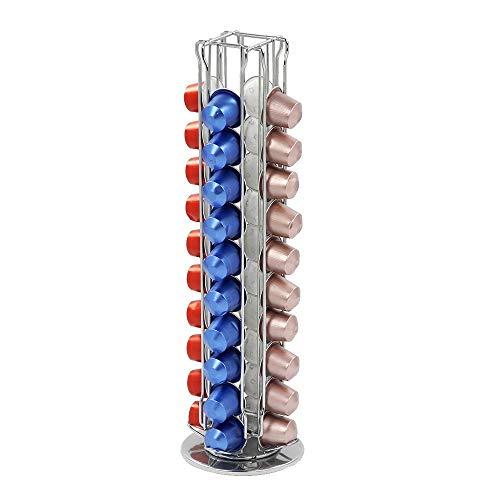 Distribuidor de cápsulas giratorio (hasta 40 cápsulas, acero cromado), Soporte para cápsulas de café by RIVENBERT