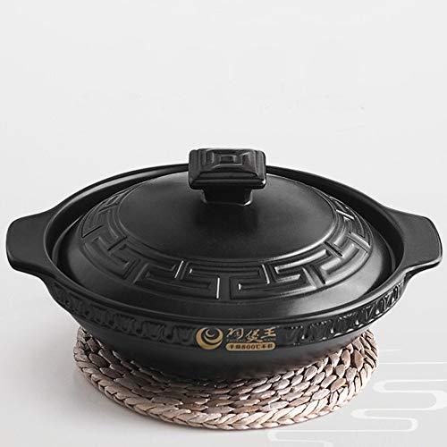 YISUPP Pentola per Zuppe con Coperchio, Pentole per Stufati E Brasati Casseruola in Ceramica Terracotta, Atossica- Diametro 25-26cm, Casseruola Piccola 1.1-1.6 Litri,Black-1.1L