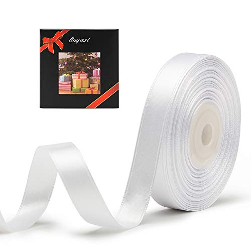 Solid Color Double Faced White Satin Ribbon 5/8' X 25 Yards, Ribbons Perfect for Crafts, Wedding Decor, Bow Making, Sewing, Gift Package Wrapping and More