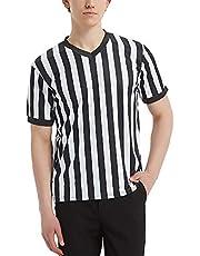 TopTie Artículos Deportivos Camiseta de Árbitro para Hombre, Camiseta con Cuello de Pico, Rayas Clásicas en Blanco y Negro
