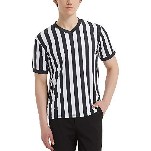 TopTie Artículos Deportivos Camiseta de Árbitro para Hombre, Camiseta con Cuello de Pico, Rayas Clásicas en Blanco y Negro-XL