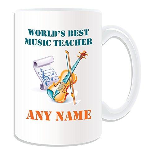 Regalo personalizado–tamaño grande World 's Best profesor de música/violín y anotar taza (diseño académico tema, blanco)–cualquier nombre/mensaje en su único–escuela Colegio Uni