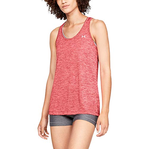 Under Armour Women's Tech Twist Tank Top, Watermelon (677)/Metallic Silver, Large