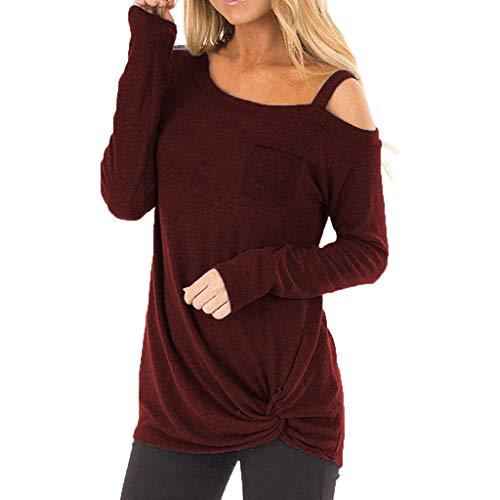 HULKY Vendita di Liquidazione Donna Casual off Spalla Lungo/Manica Corta Solid T Shirt Twist Knot Tuniche Cime Camicette Donne Camicie e T-Shirt Sportive Felpe(Vino 2,x-Large)