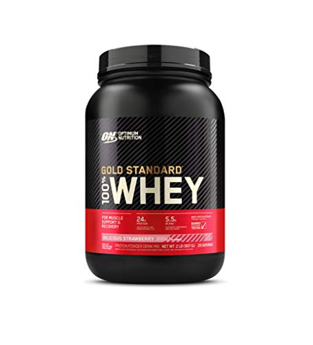 Optimum Nutrition Gold Standard 100% Whey Protein Powder, Delicious Strawberry (2 lbs)