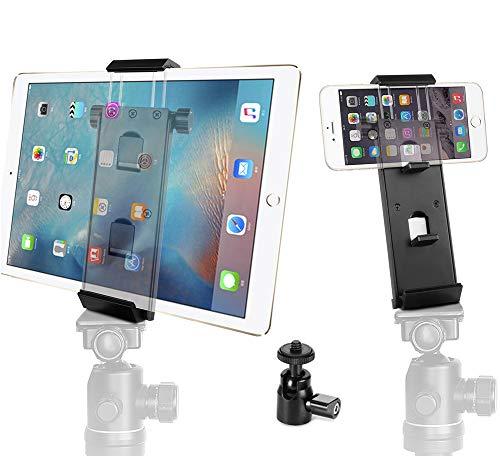 Vikdio Phone iPad Pro Tripod Mount Adapter   Soporte para Tableta de Aluminio Soporte multiángulo para teléfonos de 3.5-12.9', iPad Air/Mini, MS Surface, Tablets y Mini Cabeza de Bola para trípode
