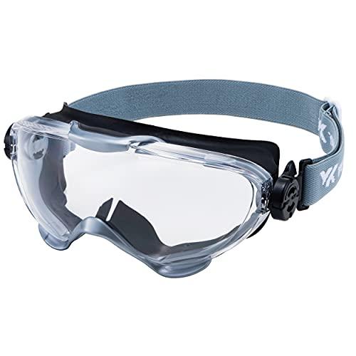 山本光学 YAMAMOTO YG-6000 ゴーグル(バックルなし) マスク併用可 レンズにキズがつきにくい ブラック×シルバー PET-AF(両面ハードコートくもり止め) 日本製 JIS 紫外線カット