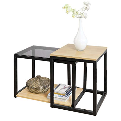 SoBuy FBT35-SCH, Nesting Tables, Set of 2 Coffee Table Side Table End Table
